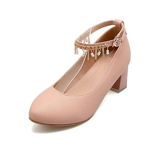 AgooLar Damen Schnalle Mittler Absatz Pu Leder Eingelegt Rund Zehe Pumps Schuhe Pink