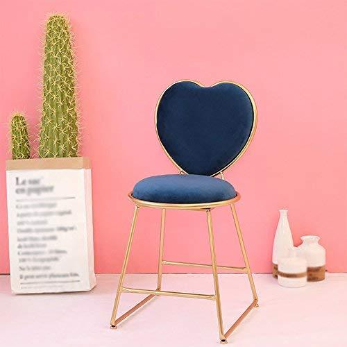 CWJ Chair Hocker - Stuhl Schmink Hocker Heart Shaped Stuhl Restaurant Wohnzimmer Stuhl Bar Cafe Flower Shop Hocker Baking Paint Sitz Bürostuhl kann Nicht drehen Creative Chair Adult Home Hocker,Blau