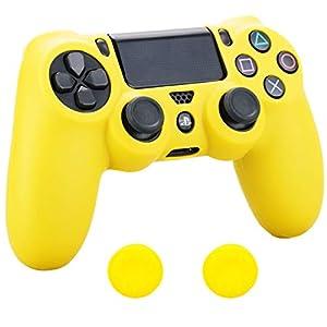 Pandaren Silikon hülle skin Schutzhülle für PS4 controller (dunkelgelb) x 1 + thumb grip aufsätze x 2