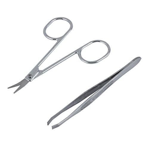 Sourcingmap Metall Frauen Flach Edge Pinzette Schere mit Augenbrauen-Trimmer Beauty Werkzeug