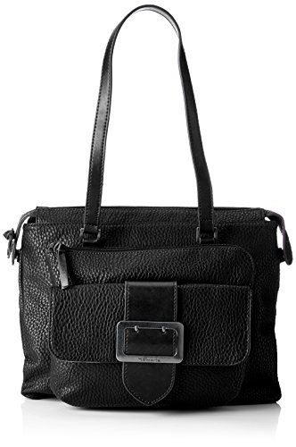 Tamaris Damen Lee Shoulder Bag Schultertasche, Schwarz (Black Comb), 10x28x32 cm