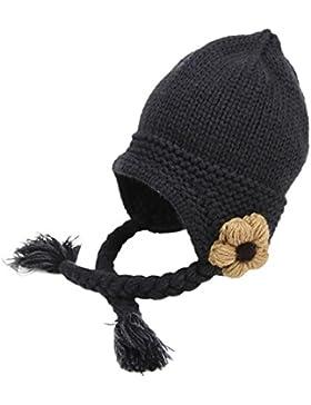 Rosennie Jungen Mädchen Hand Made Strickmütze Wollmütze Baby Kinder Wintermütze Beanie Cap Mit Zöpfe Schütze das...