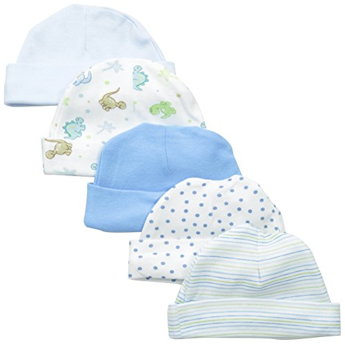 spasilk-baby-boys-newborn-5-pack-cotton-hats-blue-dino-0-6-months