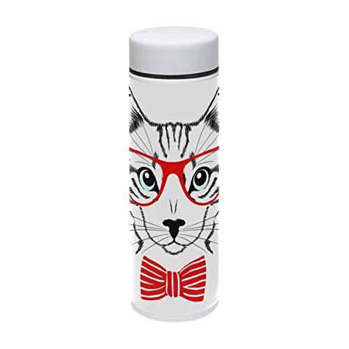TIZORAX Sport-Thermosflasche mit roter Brille, Edelstahl, für Outdoor, Camping, Radfahren, Fitness, Fitnessstudio, Yoga, 220 ml - Brille Fitnessstudio
