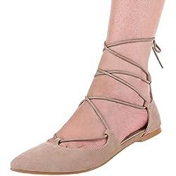 Damen Schuhe, 1351-PL, PUMPS, SCHNÜR, Synthetik in hochwertiger Wildlederoptik , Hellbraun, Gr 37