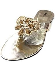 W & W Mujeres Señoras Noche Slip On soporte de comodidad sandalias fiesta diamante zapatos tamaño (Indra)