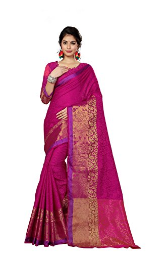 Saree Center Cotton Silk Saree (Pink, Free Size)