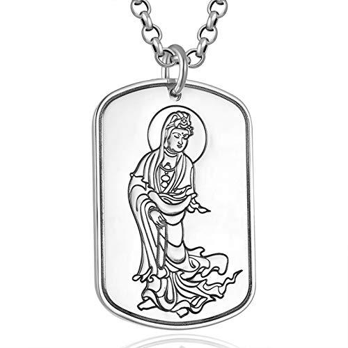 KnBoB Herren Erkennungsmarke Gravierte Guanyin und Herz Sutra Halskette 999 Sterling Silber