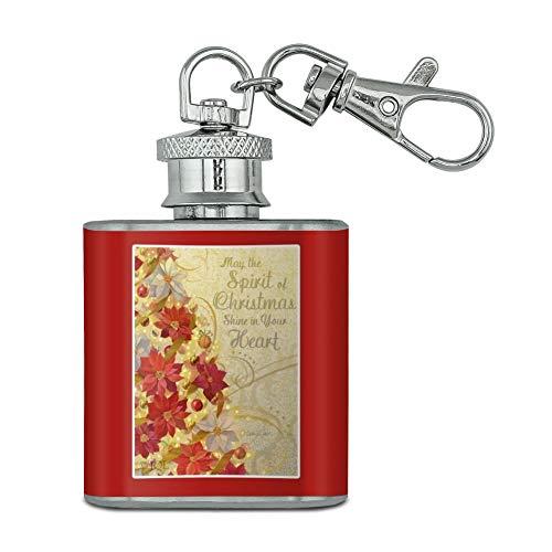 Vacances de Noël Arbre Spirit Brille dans votre Cœur en acier inoxydable 28,3 gram Mini Bouteille Porte-clés