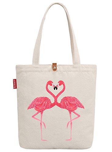 Handle Bag Top (So'each Women's Animal Flamingo Graphic Top Handle Canvas Tote Shoulder Bag)