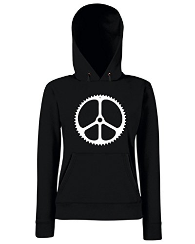 T-Shirtshock - Sweats a capuche Femme OLDENG00606 peace chainring mens fitted Noir