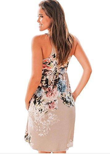 ASSKDAN Damen Blumen ärmellos Knielang A-Linie Lose Sommerkleid Strandkleid Blusenkleid Brown
