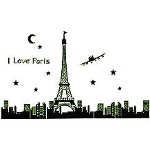 165* 92cm I Love París noche Torre Eiffel PVC Póster de pared adhesivo Mural de fondo decoración para el hogar extraíble