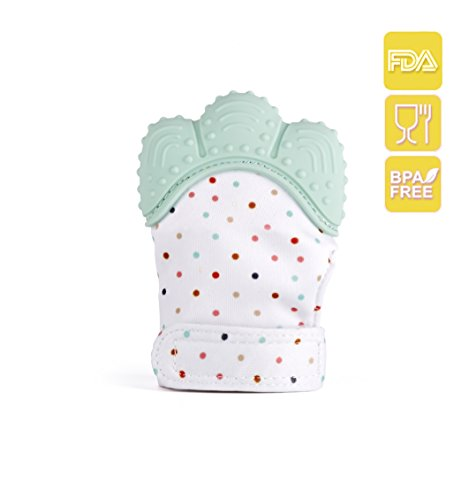 dPK.Line Silicone Baby Teething Glove Mitten for Sore Gums, Cutting teeth & Soothing Pain Relief – BPA & Phthalate Free, 100% Food grade Silicone & FDA approved, Age 2 – 12 Months – Machine washable, Saliva absorption Fabric 41C2j0d 2BguL