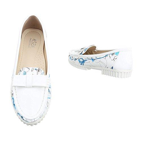 Mokassins Damenschuhe Geschlossen Blockabsatz Moderne Ital-Design Halbschuhe Weiß Blau