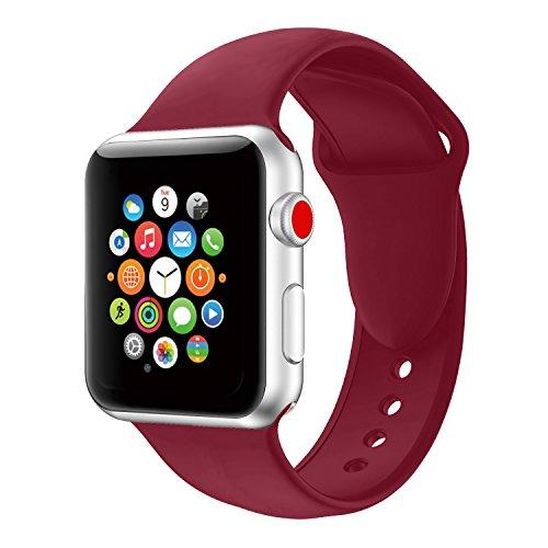 Apple Watch Armband 42mm, Soft Silikon Ersatz Uhrenarmbänder für iWatch Serie 3 Serie 2 Serie 1 Sport (42mm Rose Red)