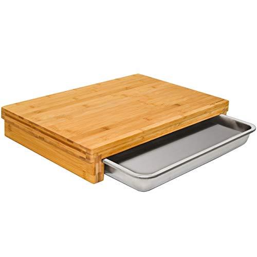 DuneDesign Tagliere XL di Bambù con Cassetto in Acciaio Inox - 51x37 - Tagliere Professionale Legno
