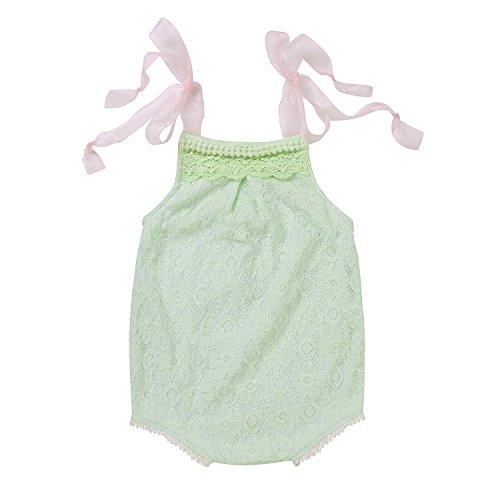 einkind Baby Minzen Grn Hkelspitze Blumen Tassel Rosa Spitze Schultergurt Outfits Sommer Bodysuit, Mintgrn, 0-3Monate (Spitzen-outfit Für Kleinkinder)
