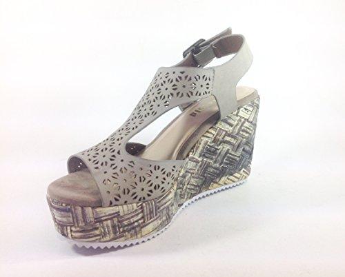 Scarpe donna sandali con zeppa in ecopelle YQ06 Grigio
