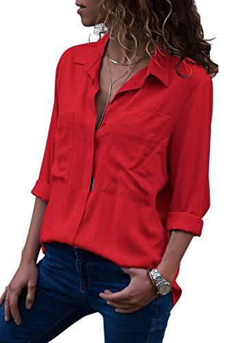 Aleumdr Damen Sommer Bluse V-Ausschnitt mit Langarm und Knopf Langarmshirts Blusen , Rot-1, M (EU 40/ EU 42)