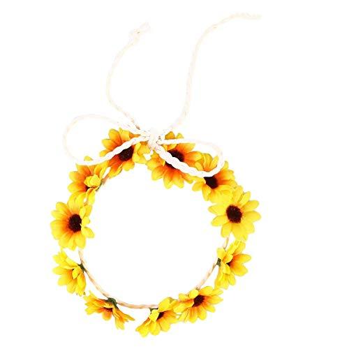 Mode Sonnenblume Krone Daisy Blume Stirnband Haar Kranz Braut Kopfschmuck Festivals Haarband (Pink) (Farbe : Yellow)