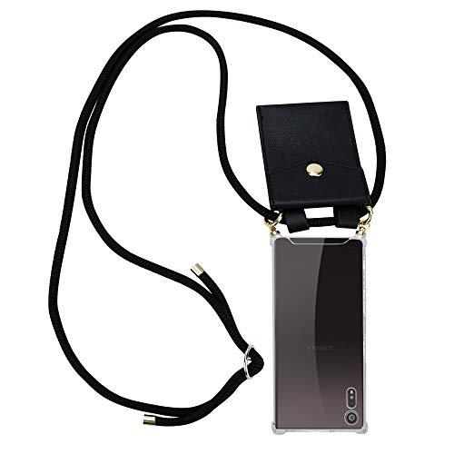 Cadorabo Handy Kette für Sony Xperia XZ/XZs in SCHWARZ - Silikon Necklace Umhänge Hülle mit Gold Ringen, Kordel Band Schnur & abnehmbarem Etui - Schutzhülle