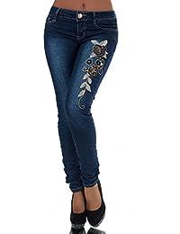FASHION BOUTIK jeans bleu avec fleurs brodées femme sexy taille 34 36 38 40  42 ( cac2c09dbbad