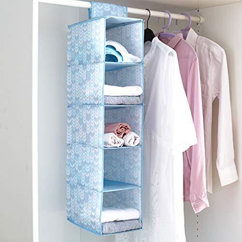 Hängender Wandschrank-Organisator, faltbarer Wandschrank-hängende Regale, Oxford-Tuch - 5-Shelf - hängt direkt an der Wandschrank-Stange - faltbar - für Kleidungs-Lagerung,blue_20cm*30cm*90cm -