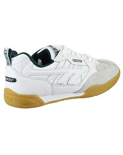 Hi Tec Unisexe Hommes Dames Squash Baskets En Cuir À Lacets Chaussures De Sport Uk 7-13 Blanc