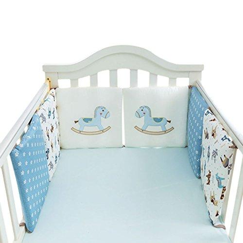 Jiyaru Ropa para cuna camas de bebé 6 Piezas Set Protector de Cuna 30 * 30 cm con Algodón (Caballo)