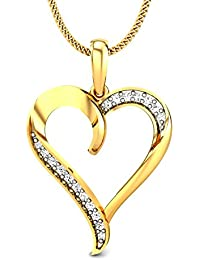 Candere By Kalyan Jewellers Contemporary Collection 14k (585) Yellow Gold and Diamond Pendant