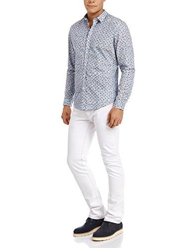 oodji Ultra Homme Chemise en Coton avec Imprimé Floral Blanc (1075F)