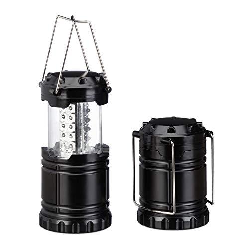Relaxdays LED Campinglampe im 2er Set, Faltbare Campinglaterne, aufhängbar, 30 LEDs, leicht, batteriebetrieben, schwarz