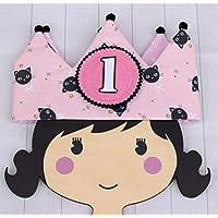 Corona infantil para cumpleaños niña hecha de tela reversible adorno de pelo regalo primer cumpleaños corona de tela con números