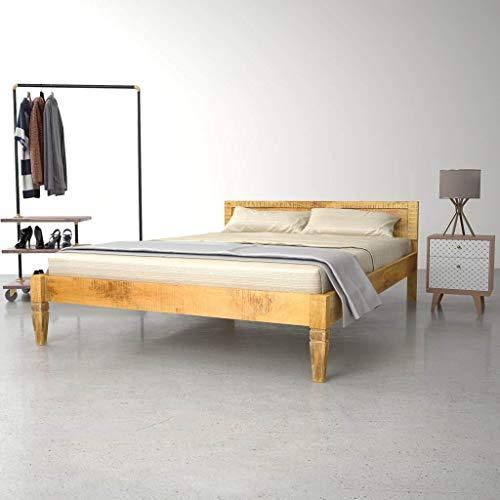 Festnight- Bettrahmen | Retro Bettgestell | Massivholzbett | Holz Doppelbett | Rustikal Holzbetten | Massives Mangoholz und Stahl 140/160/180 x 200 cm