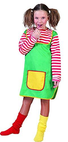 r Pippi Langstrumpf Kostüm mit Vordertasche, 116-122, 6-7 Jahre, Mehrfarbig (Pudel-rock-kostüm Mädchen)