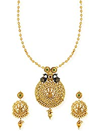 Zaveri Pearls Temple With Twin Peacock Necklace Set For Women-ZPFK6473