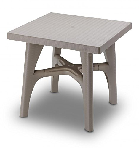 Ideapiu Table carrée 80 x 80 Taupe, Table rotin synthétique, Table Plastique tressé