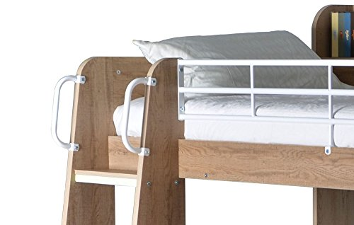 Happy Beds Domino Oak Wooden and Metal Kids Storage Bunk Bed with 2x Orthopaedic Mattress 3' Single 90 x 190 cm
