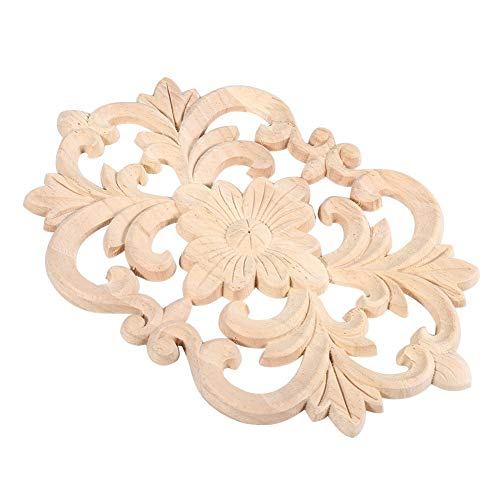 Yonhchop 22 * 14cm Home Door Cabinet Decorative Wood Carved Onlay Applique Unpainted Furniture Wooden Door Heart Decal