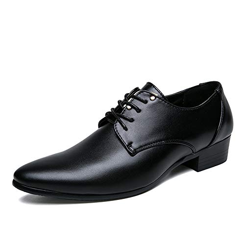 Shengjuanfeng Oxford Schuhe Für Männer Schnüren Stil Formale Schuhe Mikrofaser Leder Spitz Freizeit Business Reine Farben (Color : Schwarz, Größe : 42 EU) Cricket-stil