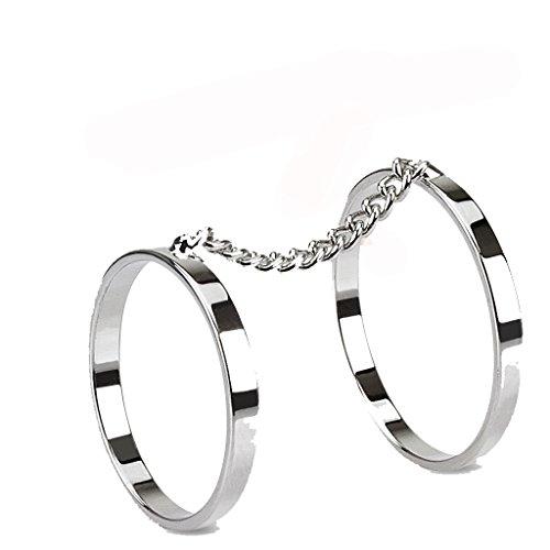 Doppel-Ring, Fingerring / Knöchelring, Messing, silberfarben, verbunden durch eine Kette