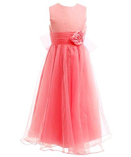 ns A-Linie knöchellanges Party-Kleid ärmelloses Blumenmädchen Kleid für Junior-Brautjungfer Hochzeit K0125 6 Korallen (Orange Fairy Kleid)