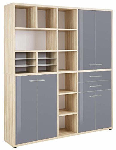 Wohnorama Highboard Kombination Office von Maja Eiche Natur/Grauglas by