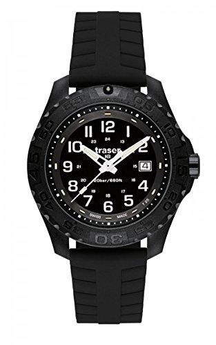 Traser 102904102905–Montre, Bracelet en Silicone couleur Noir