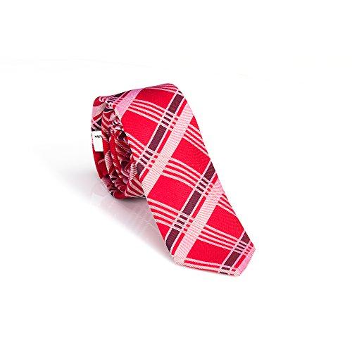 Pastellrote Tartan Check Krawatte (slim)