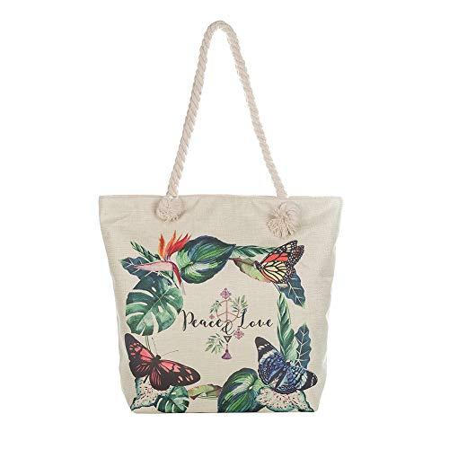 MoGist - Bolsa de Playa con Cierre de Cremallera, Creativa y Bonita Planta atrapasueños, Bolso de Mano para Mujer, Bolso de Hombro, Style2, 42 * 37cm