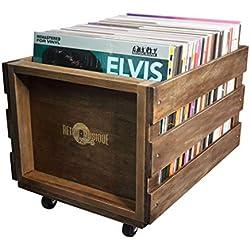 en Bois LP Record de Caisse de Stockage pour jusqu'à 100Albums, par rétro Musique -