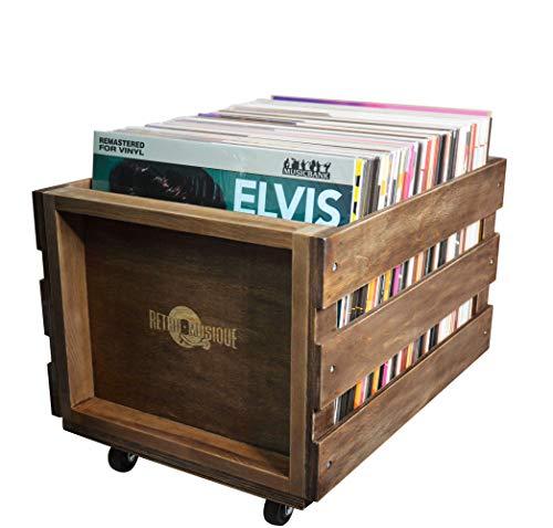 La Caisse dEntreposage de Record de MICROSILLON de bois sur les Roues pour jusquà 100 albums par Retro Musique