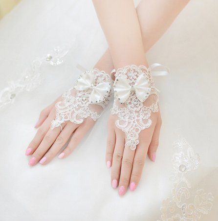 Sunshinesmile Party Wedding Bridal Lace Gloves White by Sunshinesmile